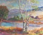 Three Birch Trees (pastel, prints, note card)