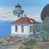 Lime Kiln Lighthouse (oil, prints on paper and canvas)