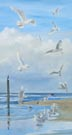 Gathering Of Gulls (oil, prints on paper and canvas)