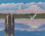 Harbor Gulls (oil, prints on paper and canvas)