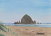 At Cannon Beach (watercolor, prints on paper and canvas)