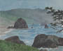 Misty Day - Ecola Park (watercolor, print, note card)