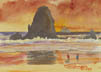 Tillamook Rock And Needles (Watercolor, prints on paper and canvas)