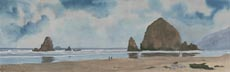 Cannon Beach Panorama (watercolor, prints, note card, ACEO)