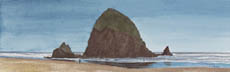 Haystack Rock At Cannon Beach (watercolor, print, note card)