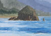 Looking South - Haystack Rock (watercolor, prints on paper and canvas)