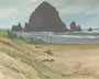 Haystack Rock And Dunes (oil, prints on paper and canvas)