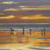 Clamming And Fishing At Sunset (pastel, prints on paper and canvas)